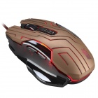 JS-X10-Jinse Classic 7-Key Wired Professional Spill Mouse m / Fargerike LED lys-Sort + gylne
