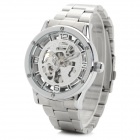 Shenhua 9031 Men's Fashionable Skeleton Stainless Steel Band Analog Mechanical Wrist Watch - Silver