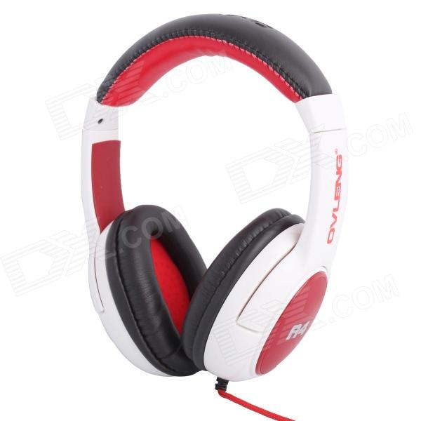 Stylish Stereo 3.5mm Plug Headband Headphones w/ Microphone / USB for IPHONE - White + Red oyk wired double side headband stereo headphones w mic for gaming pc red black 3 5mm plug