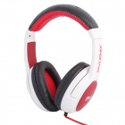 Stylish Stereo 3.5mm Plug Headband Headphones w/ Microphone / USB for IPHONE - White + Red