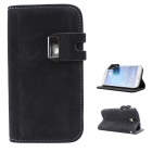 Stylish Flip Open PU + PC Case w/ Stand / Card Slots for Samsung Galaxy S4 / i9500 - Black