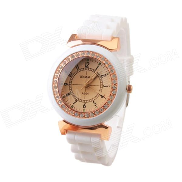 Fashionable Silicone Band Analog Quartz Wrist Watch for Women - White (1 x 377)