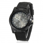 Men's Military Style Fabric Band Analog Quartz Wrist Watch - Black (1 x 377)