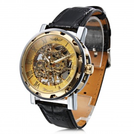 Men's Semi-Automatic Mechanical Skeleton Watch - Black + Gold