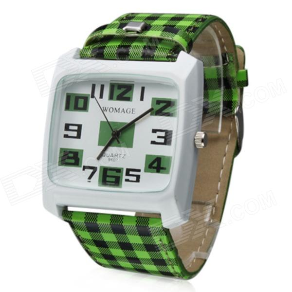 Fashionable Zinc Alloy Casing Grid Style PU Band Analog Quartz Watch - Green + Black (1 x 377)