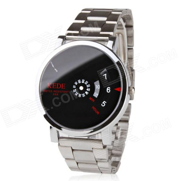 Unisex Binary Display Black Dial Silver Zinc Alloy Band Quartz Wrist Watch - Silver + Black