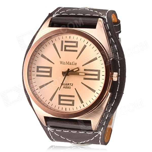 Men's Fashionable Big Dial PU Band Analog Quartz Wrist Watch - Brow + Rose Gold (1 x 377)
