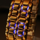 Fashionable Zinc Alloy Band Blue LED Digital Wrist Watch - Golden (1 x CR2016)