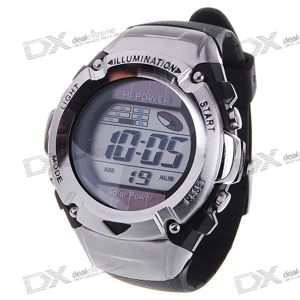 Solar Powered Waterproof EL Digital Stopwatch Sport Wristwatch (Black)