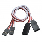 CHEERLINK 30-Core Male to Female Anti-interference RC Servo Extension Cord - Black (30cm / 2 PCS)