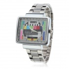 Unisex TV Style Zinc Alloy Band Analog Quartz Wrist Watch - Silver + White