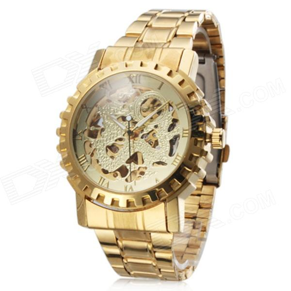 WINNER Men's Auto-Mechanical Skeleton Steel Band Analog Wrist Watch - Golden