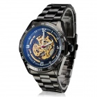 Men's Auto-Mechanical Skeleton Steel Band Analog Wrist Watch - Black