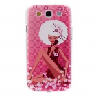 Kinston Girl in Cheongsam Pattern Hard Case for Samsung Galaxy S3 i9300 - Dark Pink + White