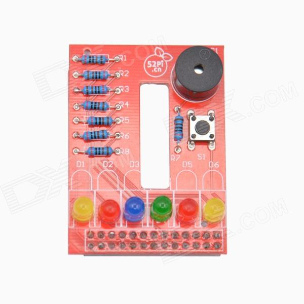 DIY RPI BerryClip 6-LED Add-on Board Python Learning Board for Raspberry PI - Red 8 channel digital responder parts electronic component cd4511 welding practice board pcb soldering practice experiment diy kit