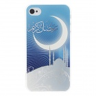 Kinston Moon Pattern Hard Case for IPHONE 4 / 4S - Blue + White