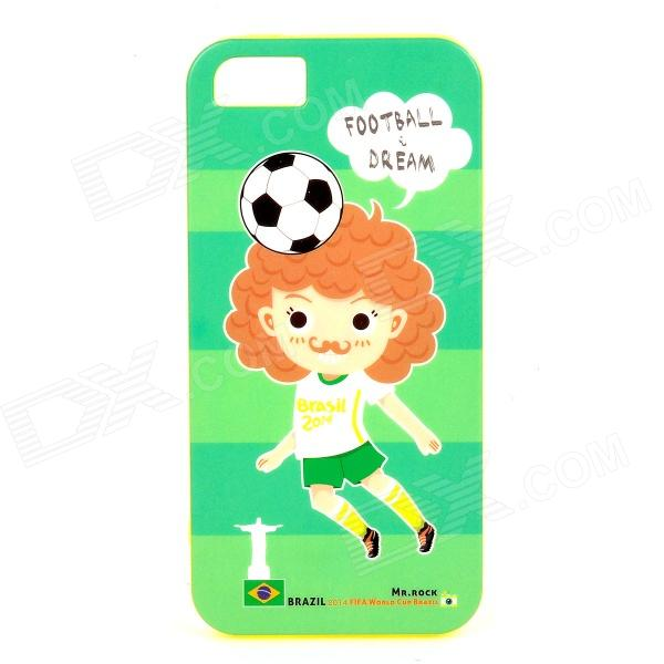 ROCK 2014 World Cup Football Dream Protective TPU Back Case for IPHONE 5 / 5S - Green + Black s what protective tpu back case w anti dust plug for iphone 5 5s transparent purple