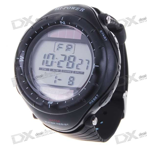 Solar Powered Waterproof Digital Stopwatch Sport Wristwatch with EL Back Light (Black)