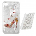 3D Crystal Shoes Pattern Protective Plastic Back Case for IPHONE 4 / 4S - White + Red + Multicolored