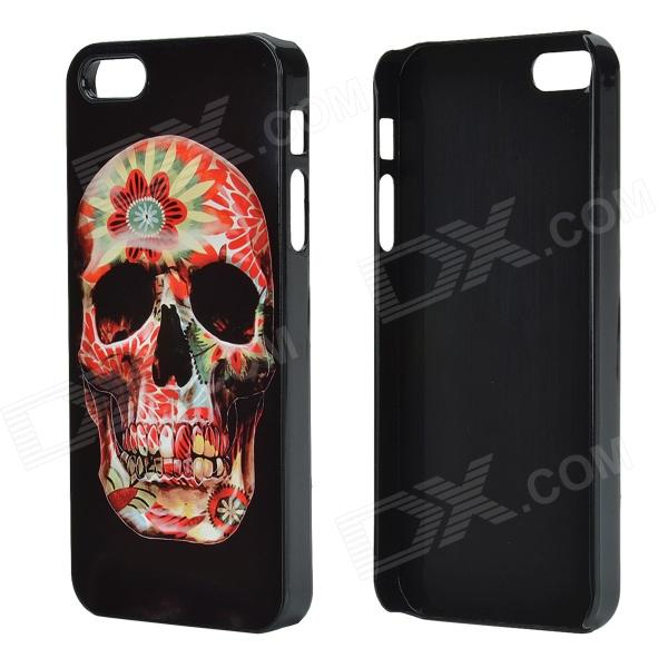 Flower Skull Pattern Protective Aluminum Alloy Back Case for IPHONE 5/ 5S - Black + Red