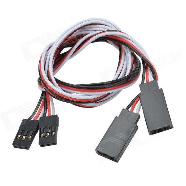 CHEERLINK 30-Core Male to Female RC Servo Extension Cords - Black + White (50cm / 2 PCS)