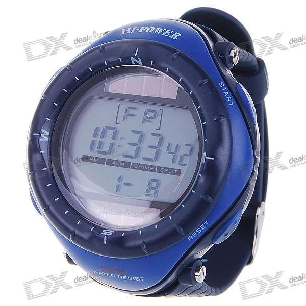 Solar Powered Waterproof Digital Stopwatch Sport Wristwatch with EL Back Light (Smalt)