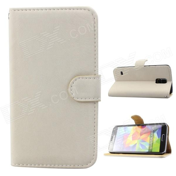 Stylish Soft Flip-open PU Case w/ Stand + Card Slot for Samsung Galaxy S5 - Off-White leopard print flip open pu leather case w stand for samsung galaxy s5 khaki brown multi color