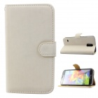 Stylish Soft Flip-open PU Case w/ Stand + Card Slot for Samsung Galaxy S5 - Off-White