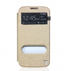 Flower Show Protective PU Leather Case w/ Visual Window / Stand for Samsung S4 i9500 - Golden