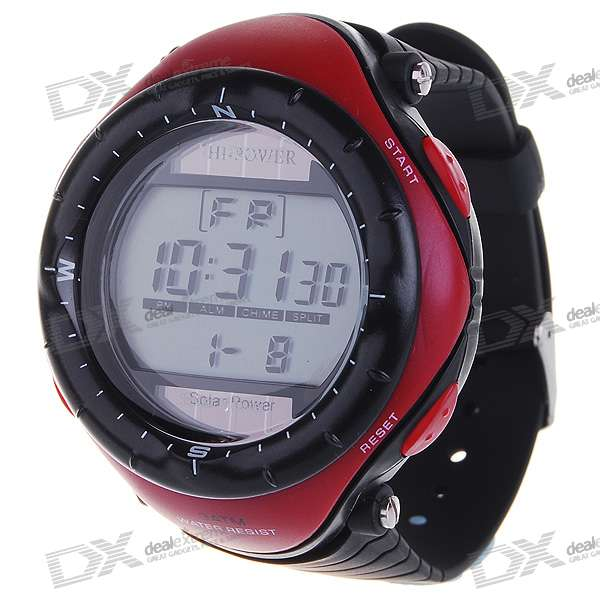 Solar Powered Waterproof Digital Stopwatch Sport Wristwatch with EL Back Light (Red)