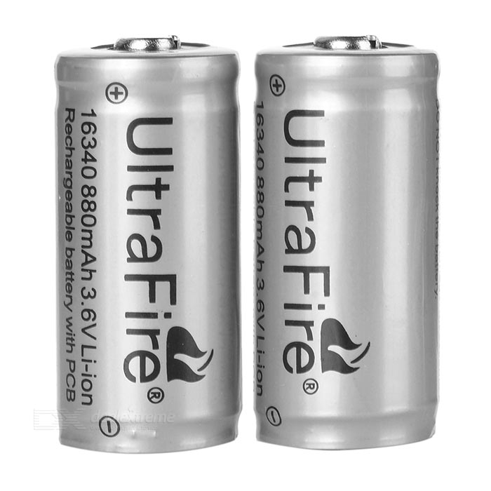 Ultrafire 3.6V 880mAh LC 16340 Protected CR123A Battery 2-Pack