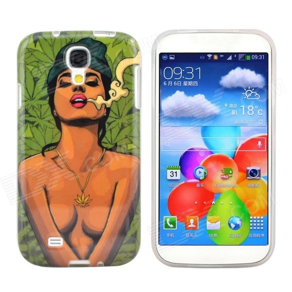 Hot Sexy Smoking Girl Pattern Protective TPU Case for Samsung Galaxy S4 i9500 cm001 3d skeleton pattern protective plastic back case for samsung galaxy s4