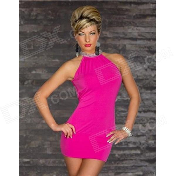 Fashionable Sleeveless Bodycon Polyester Dress - Deep Pink