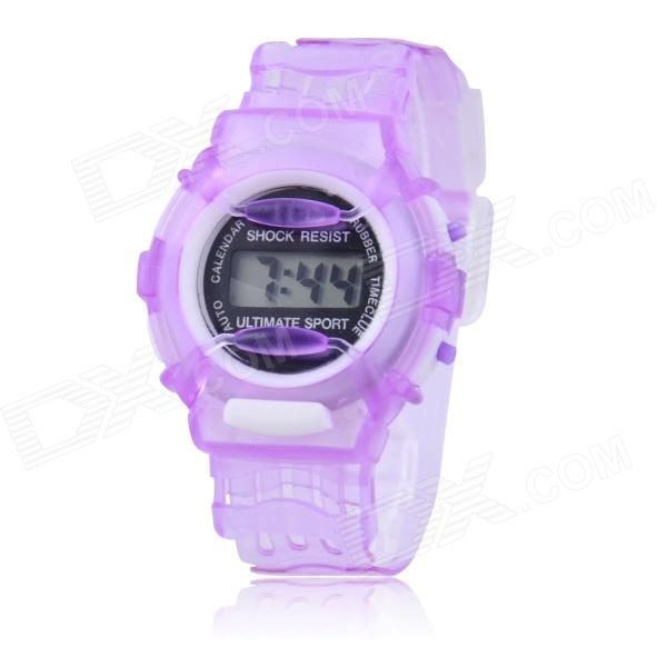 Children's Sports Style Translucent Digital Quartz Wrist Watch - Purple (1 x CR2016) hoska hd030b children quartz digital watch