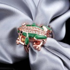Fashionable Frog Style Crystal Inlaid Rose Gold Ring - Emerald Green + Golden