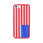 Protective USA Flag Pattern Back Case TPU Cover for IPHONE 5 / 5S -  Red + Blue + White