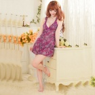 Women's Fashionable Sexy Floral Style Sleep Dress - Dark Purple
