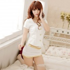 Women's Fashionable Sexy Airline Stewardess Style Cosplay Sleep Dress Set - White