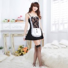 Women's Fashionable Sexy Maid Style Cosplay Sleep Dress Set - Black + White