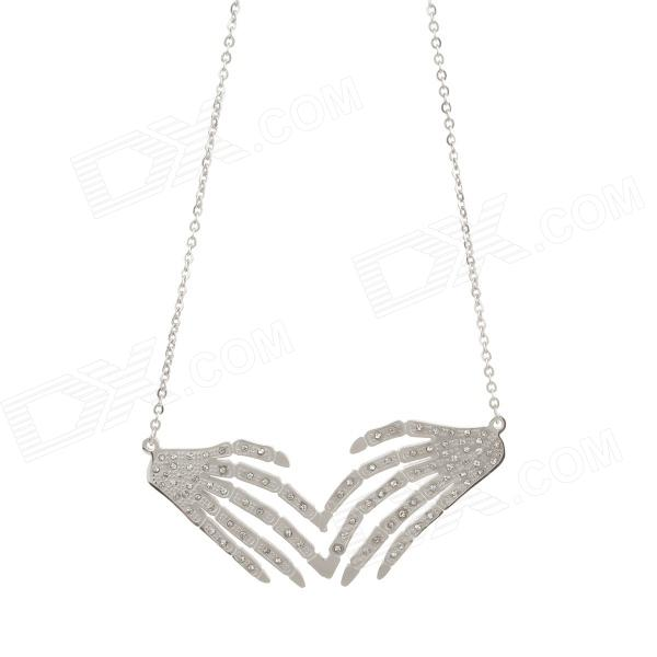 Stylish Palm Style Pendant Platinum Plating Necklace for Women - Silver