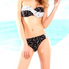 Women's Patterned Nylon + Spandex + Polyester Bikini Swimsuit - White + Black (Size M)