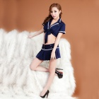 Women's Fashionable Sexy Stewardess Style Cosplay Sleep Dress Set - Blue
