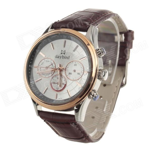Daybird Men's Classic Fashionable Leather Band Analog Quartz Wrist Watch - Brown + Rose Gold тумба под телевизор sonorous pl 3100 b hblk