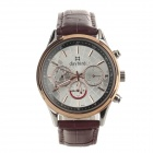 Daybird Men's Classic Fashionable Leather Band Analog Quartz Wrist Watch - Brown + Rose Gold