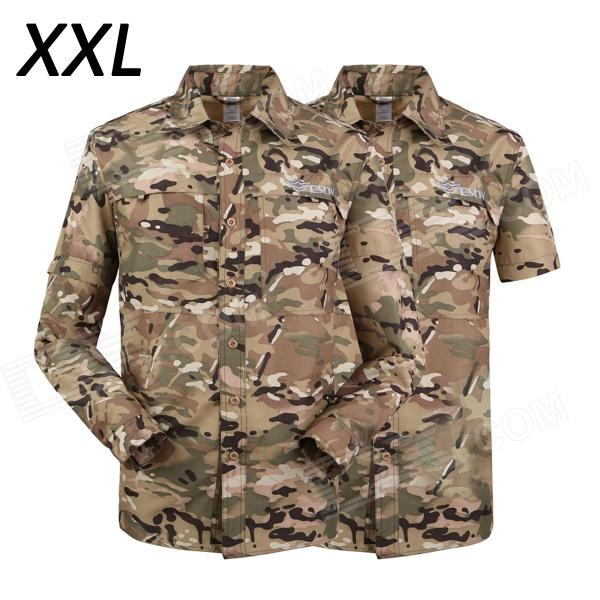 ESDY-635 Men Quick-Drying Removable Outdoor Shirts - MultiCam (Size XXL) esdy 619 men s outdoor sports climbing detachable quick drying polyester shirt camouflage xxl