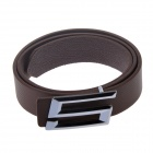 "Fashionable Casual PU Leather Wild Belt w/ ""G"" Shapped Zinc Alloy Buckle - Coffee + Grey (110cm)"