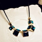 Small Square Crystal Gem Retro Short Necklace