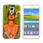 Sexy Smoking Girl Pattern Protective TPU Case for Samsung Galaxy S5 i9600 - Green + Grey