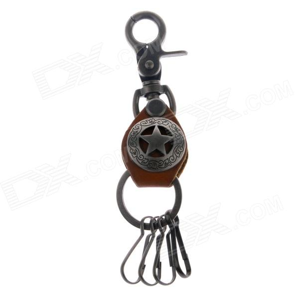 A-J3 Retro Zinc Alloy Waist Car Key Keychain - Brown portable mini air humidifier purifier night light with usb for home office decorations