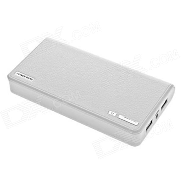 "Kinston ""20000mAh"" Dual USB External Battery Mobile Bank w/Flashlight for IPHONE / IPAD - White (5V)"